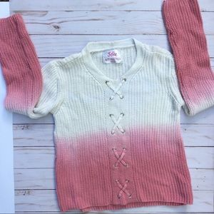 Justice Girl's Lace Up Ombre Sweater - SZ 6/7